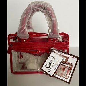 New! Nan Patent Red trim clear handbag organizer